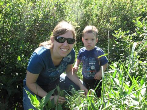 Lindsay and Caleb picking berries