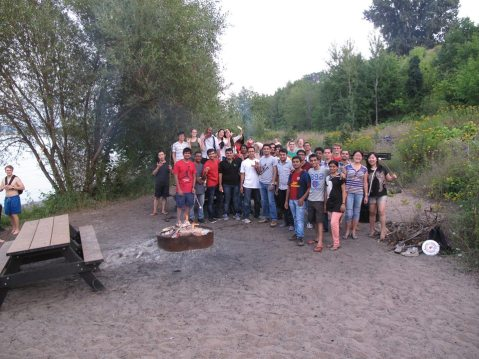 Group at bonfire