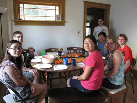 After the waterfall hike, a small group joined Caleb and I at our house for a pizza dinner.