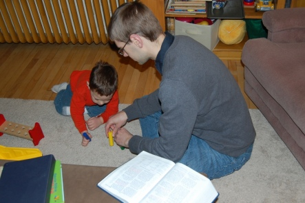Caleb loves to act out Bible stories with his toys. He'll request that we read the Bible together in the mornings.